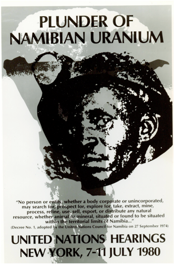 Poster of 1980 UN hearings on Namibian uranium. courtesy of African Activist Archive Project