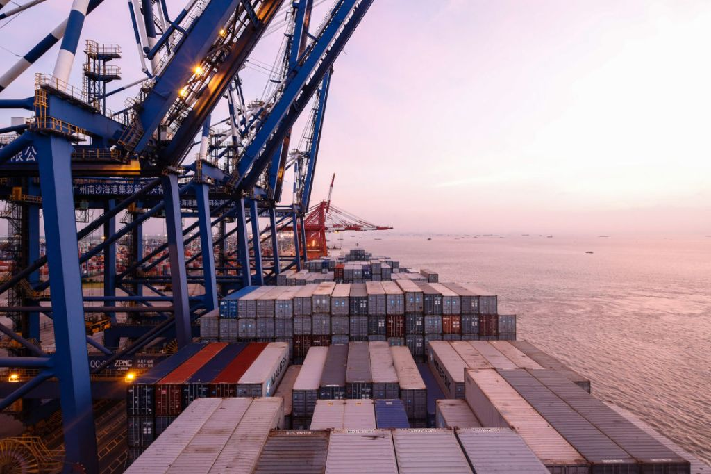 NANSHA CONTAINER PORT,  CHINA - JULY 26, 2014